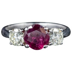 Ruby Diamond Platinum Trilogy Ring