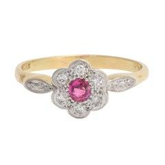 Antique Edwardian Ruby White Diamond Flower Cluster Ring