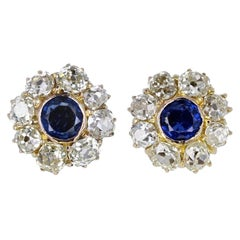 Antique Edwardian Sapphire Diamond Daisy Cluster Earrings