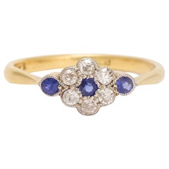 Antique Edwardian Sapphire Diamond Daisy Ring