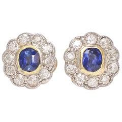 Antique Edwardian Sapphire Diamond Daisy Stud Earrings