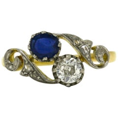 Antique Edwardian Sapphire Diamond Engagement Ring Toi Et Moi Twin Ring 2-Stone