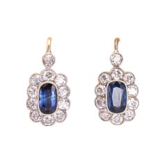 Antique Edwardian Sapphire Diamond Flower Cluster Earrings