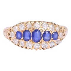 Antique Edwardian Sapphire Diamond Oval Cluster Ring