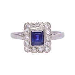 "Antique Edwardian Sapphire Diamond ""Picture Frame"" Cluster Ring"