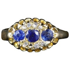Antique Edwardian Sapphire Diamond Ring 18 Carat Dated Chester, 1903