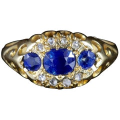 Antique Edwardian Sapphire Diamond Ring Dated Chester, 1903