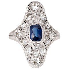 Antique Edwardian Sapphire Diamond Ring Vintage Platinum Long Plaque Jewelry