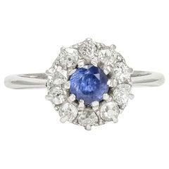 Antique Edwardian Sapphire Diamond Round Cluster Ring