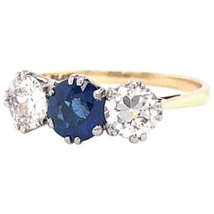 Antique Edwardian Sapphire Diamond Three Stone Gold Ring