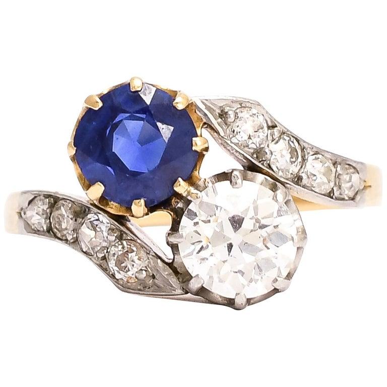 "Antique Edwardian Sapphire Diamond ""Toi Et Moi"" Engagement Ring"