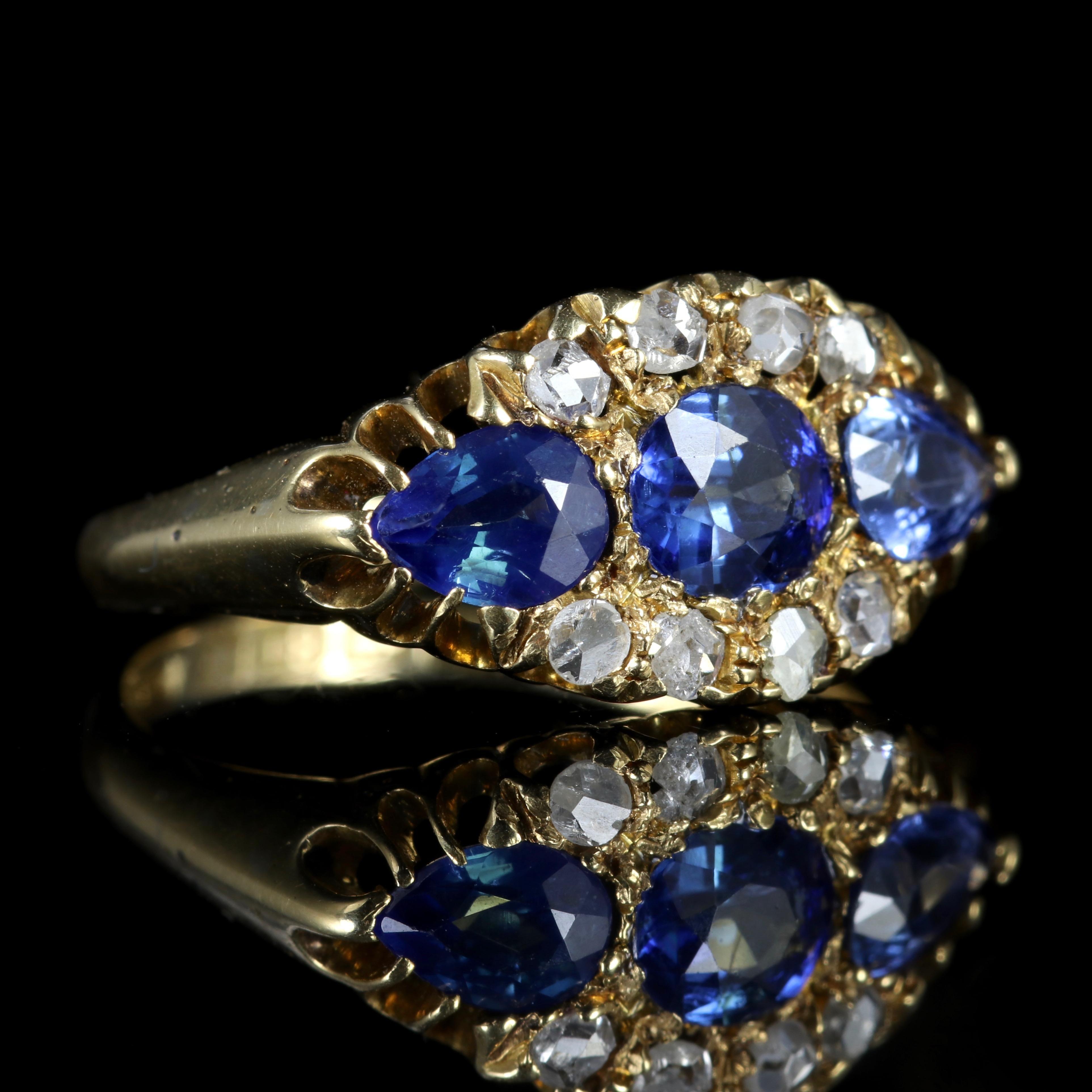 0118e99d16773 Antique Edwardian Sapphire Diamond Trilogy Ring 18 Carat, Dated 1904-1905