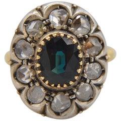 Antique Edwardian Sapphire Rosecut Diamond 2.3 Carat 18 Karat Halo Cocktail Ring