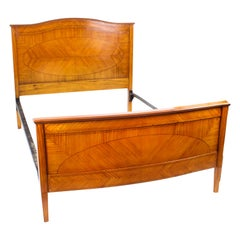 Antique Edwardian Satinwood Single Bed Stand, Late 19th Century