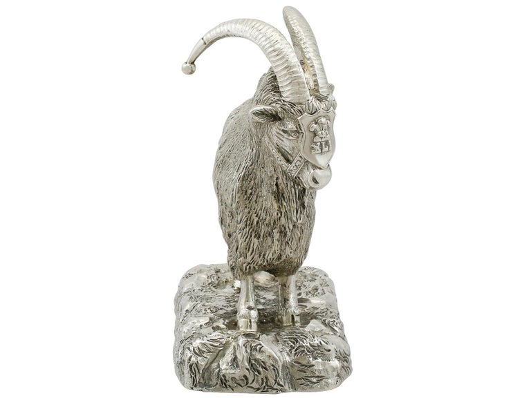 British Antique Edwardian Scottish Sterling Silver Military Mascot Goat Ornament For Sale