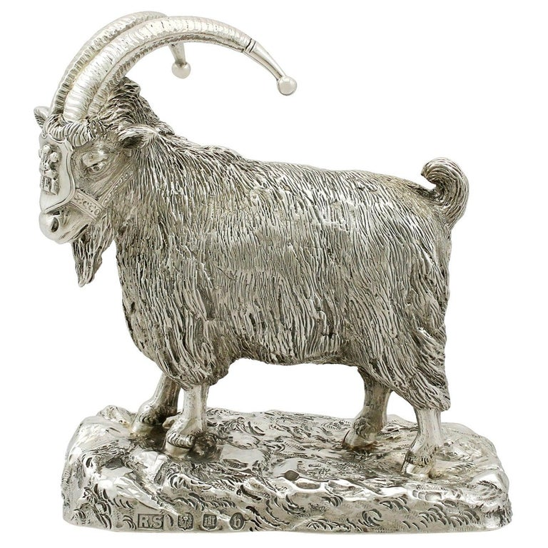 Antique Edwardian Scottish Sterling Silver Military Mascot Goat Ornament For Sale