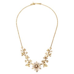 Antique Edwardian Seed Pearl Floral Necklace