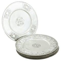 Antique Edwardian Set of Four Sterling Silver Dinner Plates
