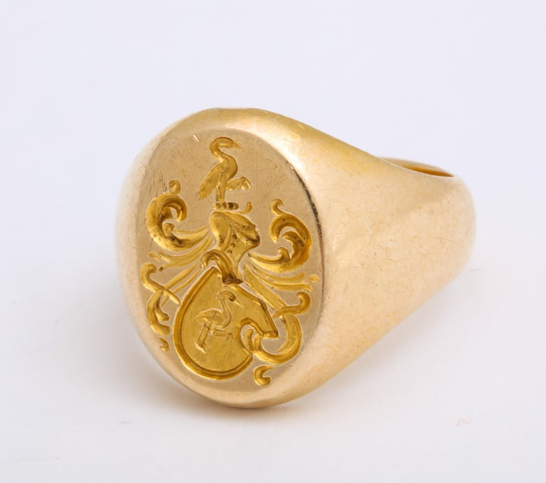 Women's or Men's Antique Edwardian Signet Ring of Two Storks by Larter and Sons For Sale