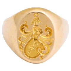 Antique Edwardian Signet Ring of Two Storks by Larter and Sons