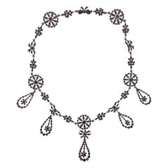 Antique Edwardian Silver and Gold Ruby Diamond Necklace