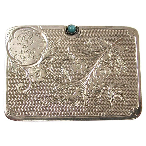 Antique Edwardian Silver Double Stamp Case, Ahronsberg Bros, Birmingham, 1906