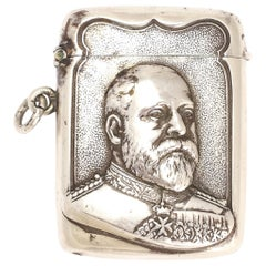 Antique Edwardian Silver Edward VII Vesta Case Pendant