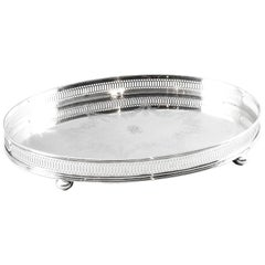 Antique Edwardian Silver Plated Gallery Tray, circa 19th Century
