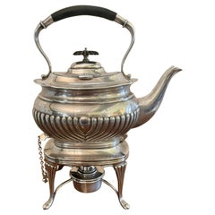 Antique Edwardian Silver Plated Spirit Kettle on Stand