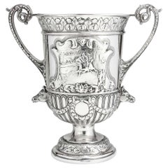 Antique Edwardian Silver Trophy with Two Handles, London, 1904