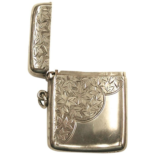 Antique Edwardian Silver Vesta Case Dated 1902, Henry Griffiths and Sons