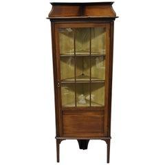 Antique Edwardian Small Corner Display Cabinet Inlaid Curio