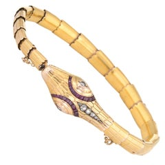 Antique Edwardian Snake Bracelet 18 Karat Yellow Gold Diamond Ruby Vintage