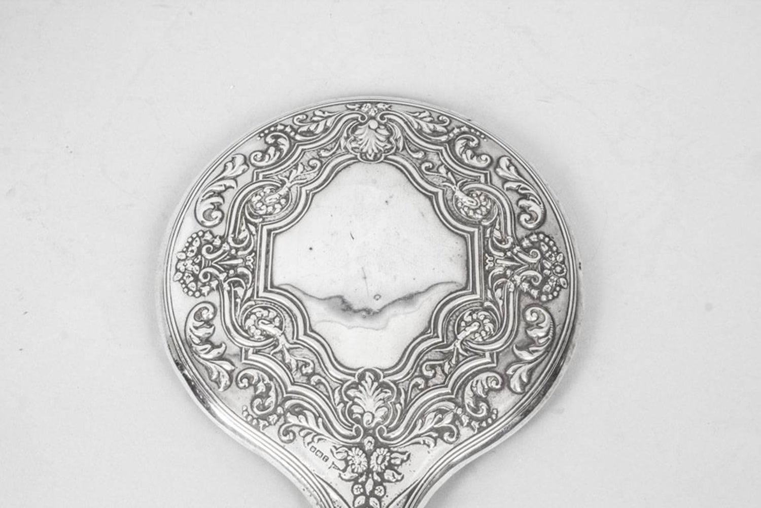 Antique Edwardian Sterling Silver and Embossed Hand Mirror 1909 by