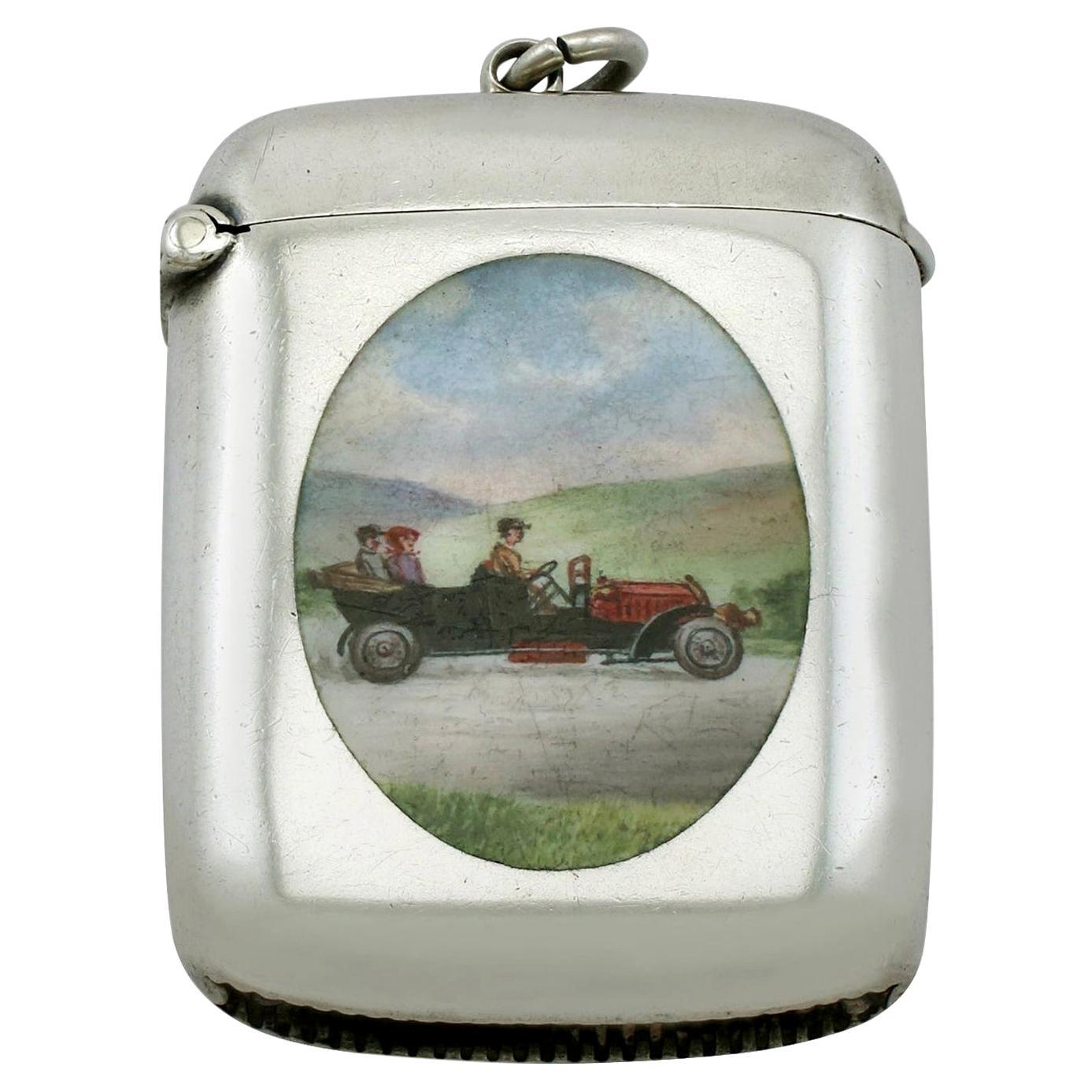 Antique Edwardian Sterling Silver and Enamel Vesta Case, 1909