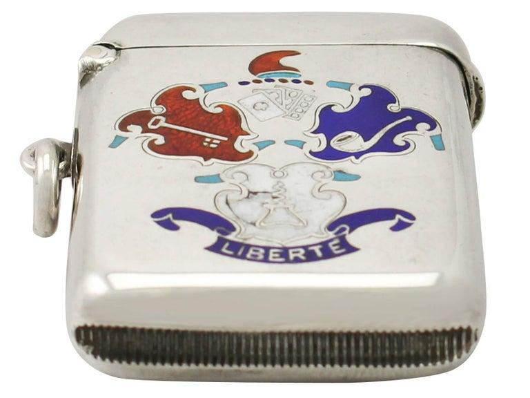 English Antique Edwardian Sterling Silver and Enamel Vesta Case For Sale