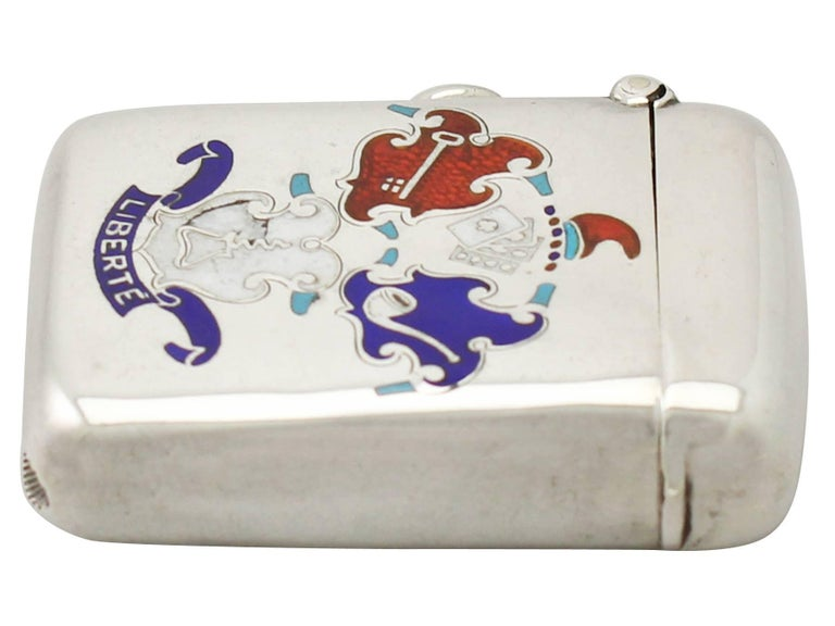 Antique Edwardian Sterling Silver and Enamel Vesta Case In Excellent Condition For Sale In Jesmond, Newcastle Upon Tyne