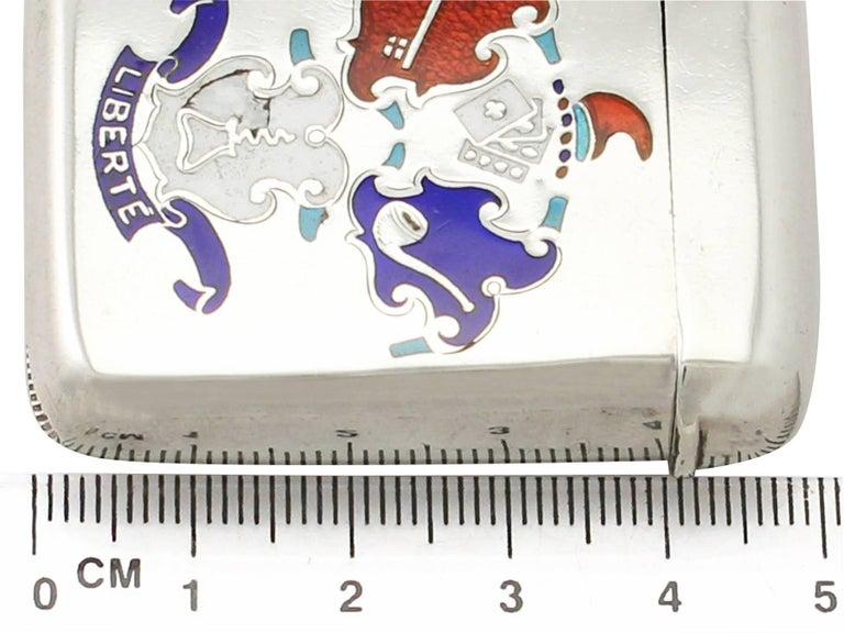 20th Century Antique Edwardian Sterling Silver and Enamel Vesta Case For Sale