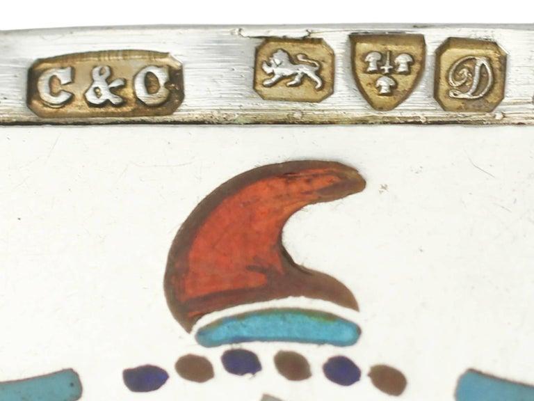 Antique Edwardian Sterling Silver and Enamel Vesta Case For Sale 2
