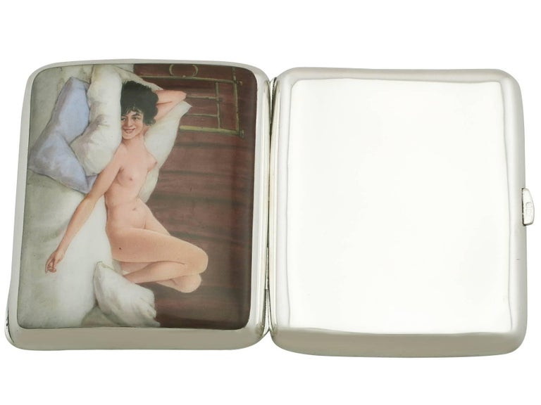 Early 20th Century Antique Edwardian Sterling Silver and Erotica Enamel Cigarette Case For Sale