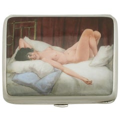 Antique Edwardian Sterling Silver and Erotica Enamel Cigarette Case