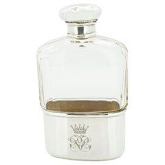 Antique Edwardian Sterling Silver and Glass Flask with Royal Crown and Monogram