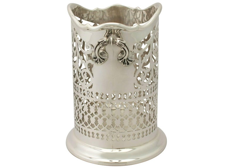 English Antique Edwardian Sterling Silver Bottle Coaster For Sale