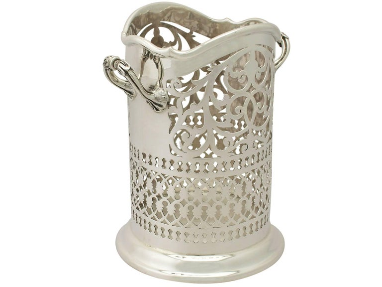 Antique Edwardian Sterling Silver Bottle Coaster For Sale 1