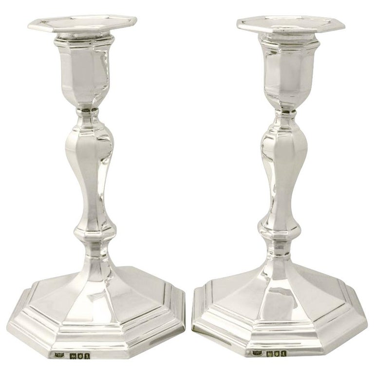 Sterling-silver candlesticks, 1906, offered by AC Silver