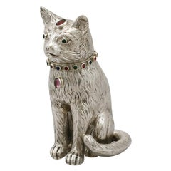 Antique Edwardian Sterling Silver Cat Sugar Box, 1903