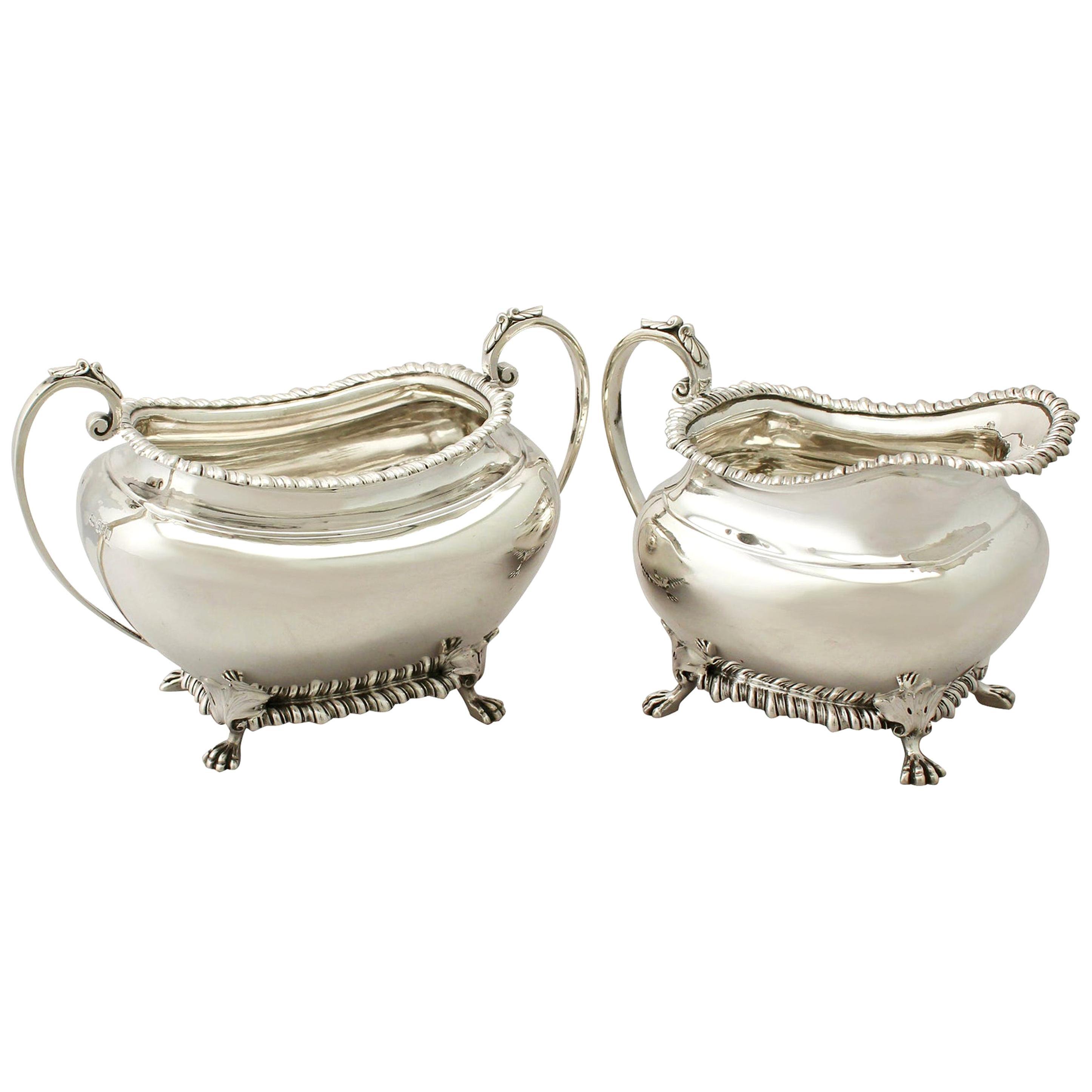 Antique Edwardian Sterling Silver Cream Jug or Creamer and Sugar Bowl