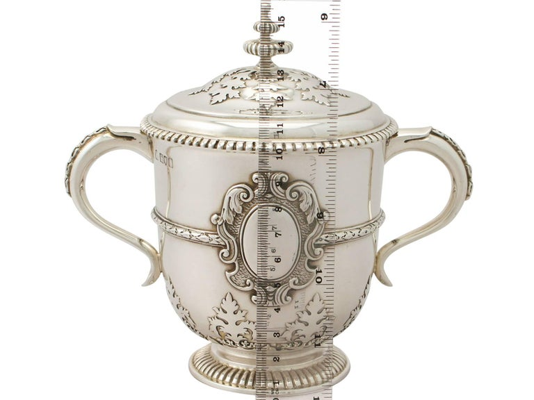 Antique Edwardian Sterling Silver Cup and Cover For Sale 4