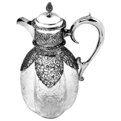 Antique Edwardian Sterling Silver & Cut Glass Claret Jug or Wine Decanter 1904