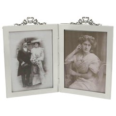 Antique Edwardian Sterling Silver Double Photograph Frame, 1907